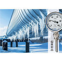 Bimetal thermometer also qualified for -70 °C