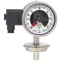 Gas-actuated thermometer with switch contacts